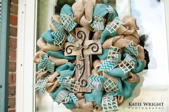 Burlap teal and natural cross wreath with chevron by WelcomingDoor