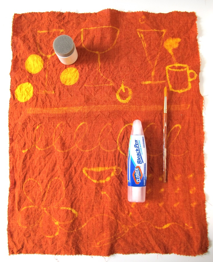 DIY cool dish towels from old, inexpensive plain towels and kitchen cleanser.