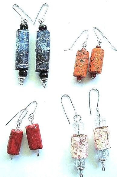 Beads using recycled paper--any paper, newspapers, thrown out printer paper, etc.