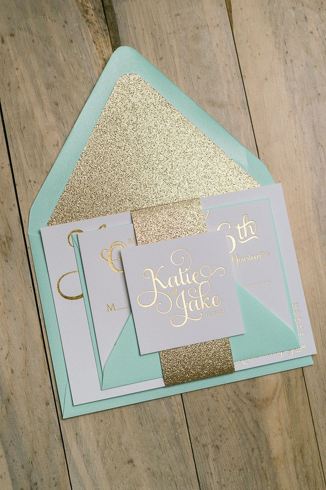 The perfect amount of sparkle and shine! Mint and gold foil wedding invitations with GLITTER envelope liners!