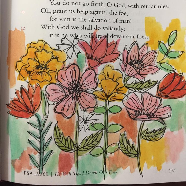 Psalm 60. With God we shall do valiantly. He is the One to call on. He repairs. He restores. He delivers. #ilovecrinklypages #littlepsalmsbook #ipaintinmybible #watercolorbible #illustratedfaith #bibleartjournaling #everythingchristian I was so inspired by the large wall mural done by @kimknightdesigns I hope she doesn't mind that I *tried* to replicate the look on this page.