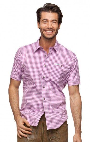 Chequered short sleeve shirt for men Renko2 berry
