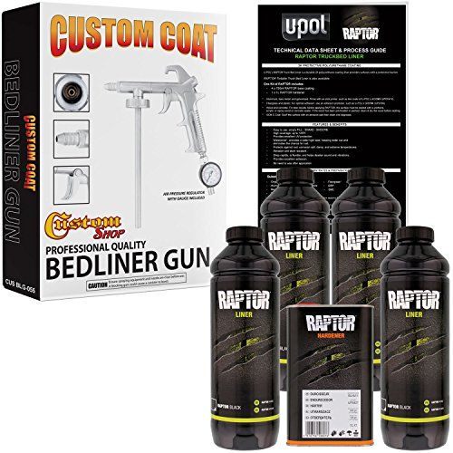 U-POL Raptor Black Urethane Spray-On Truck Bed Liner Kit w/ FREE Custom Coat Spray Gun with Regulator, 4 Liters  Easy to use: ADD hardener - SHAKE - SPRAY  Custom Coat Bedliner Spray Gun features adjustable nozzle and includes Regulator and Gauge  Abrasion and Stain Resistant  Protects against rust corrosion salt damp & extreme temperatures  Waterproof flexible helps deaden sound & vibrations