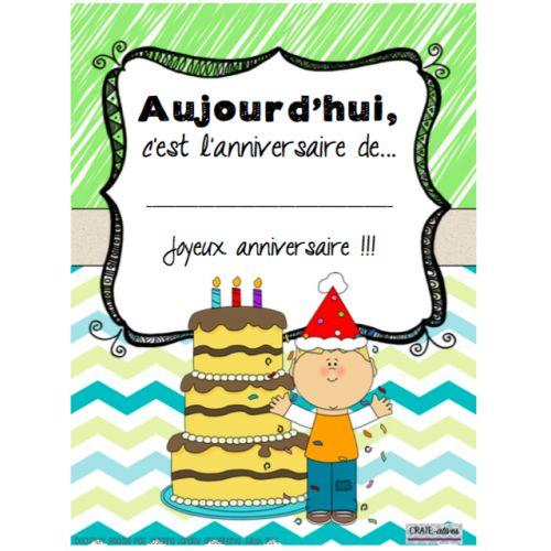 À afficher sur la porte de votre classe pour annoncer l'anniversaire d'un élève!