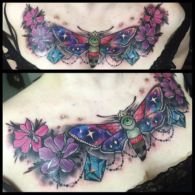 Moth and flowers chest piece tattoo by Miss Jo Black #missjoblack #moth #flower #flowers #chestpiece
