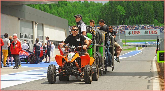 Einsatz: Quads im Formel 1 Fahrerlager Wie ATVs und Quads im Formel 1 Fahrerlager und für die Rettung bei der Feuerwehr eingesetzt werden, hat Dirk Hartung beim GP-Lauf im österreichischen Spielberg 2014 beobachtet http://www.atv-quad-magazin.com/aktuell/einsatz-quads-im-formel-1-fahrerlager/