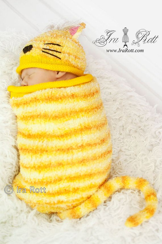 Handmade Knit Kitty Cat Hat and Cocoon Sleeping bag set for newborn babies