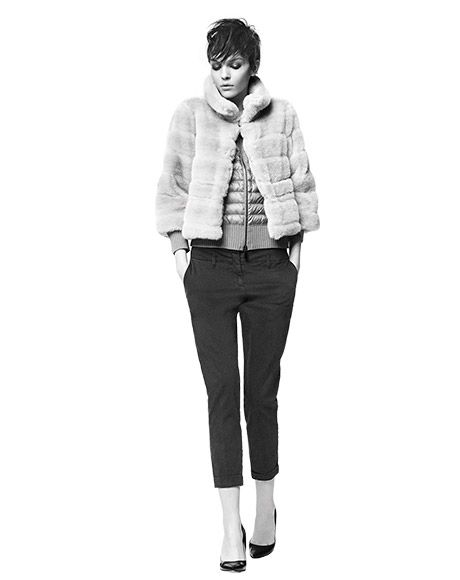 eco-fur EFESO, down jacket ONCE, trousers CENTO, pumps MALTA