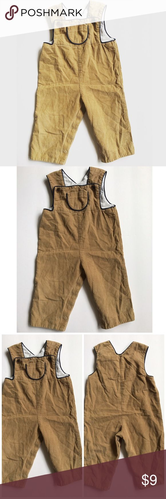 Vintage Corduroy Camel Overalls with Cute front pocket || snap bottom for easy diaper changes Vintage Bottoms Overalls