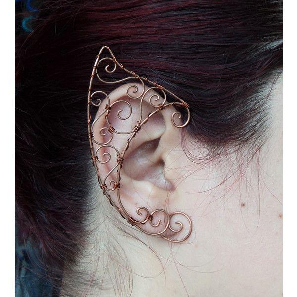 Elf ear cuff copper Elven ears wire wrapped earcuff in copper cosplay... (£22) ❤…                                                                                                                                                                                 More