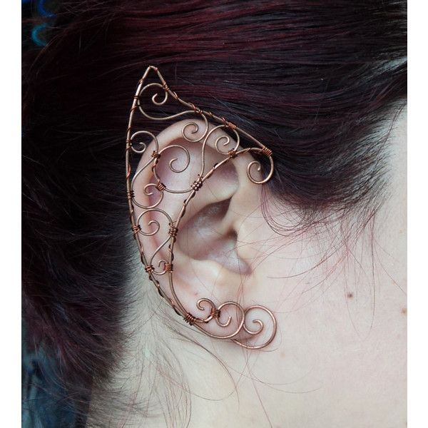 Elf ear cuff copper Elven ears wire wrapped earcuff in copper cosplay... (£22) ❤ liked on Polyvore featuring jewelry, wrap jewelry, ear cuff jewelry, copper jewelry and ear cuff wrap jewelry