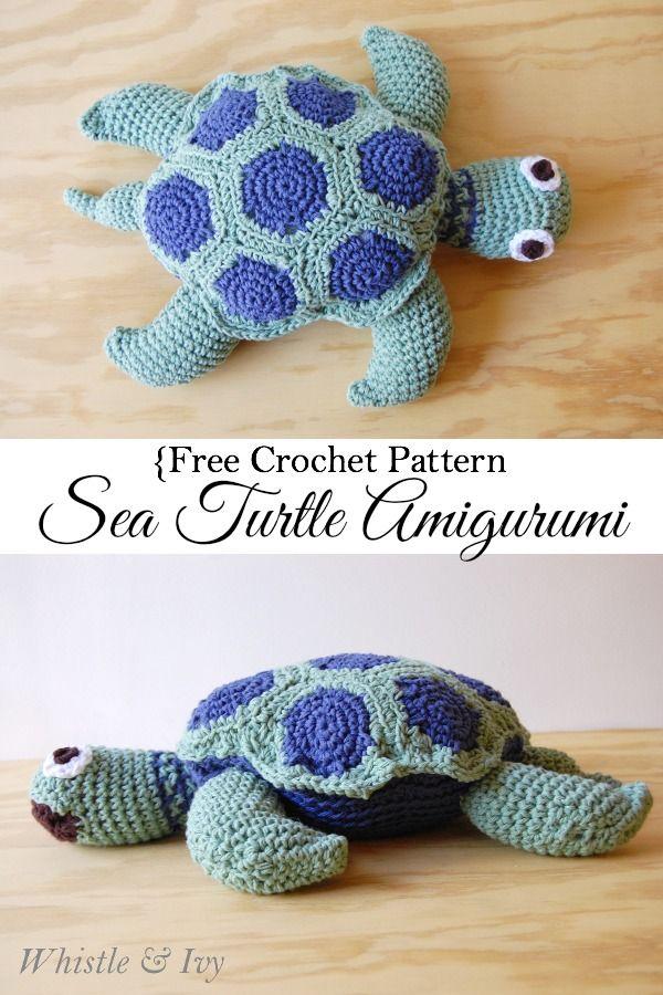 Free Crochet Pattern - Sea Turtle Amigurumi {Whistle and Ivy} ༺✿ƬⱤღ  http://www.pinterest.com/teretegui/✿༻