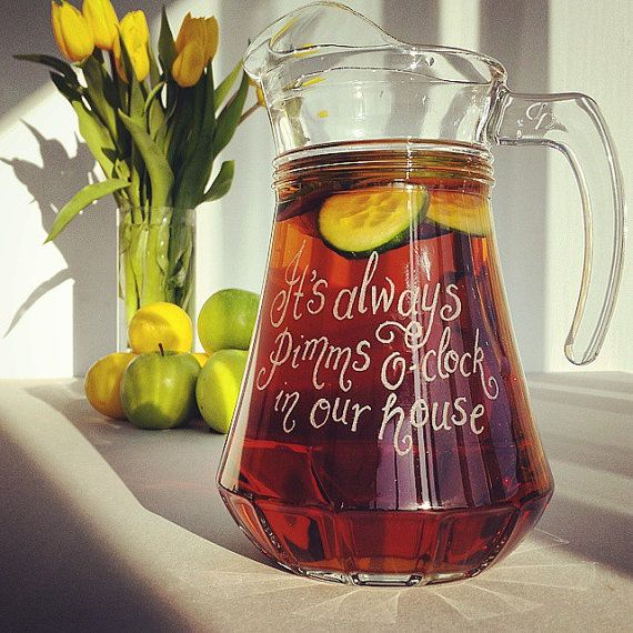 Personalised glass jug customised hand engraved with your message, pimms jug, cocktail party, punch jug, party jug, cocktail jug (JG01)