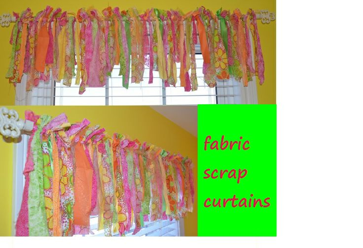 Fabric Scrap Curtains  Cut varying lengths/widths of fabric.  Machine wash. Tie to curtain rod.  Admire hard work!