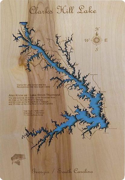 Clarks Hill Lake Georgia South Carolina Wood Laser Cut Map