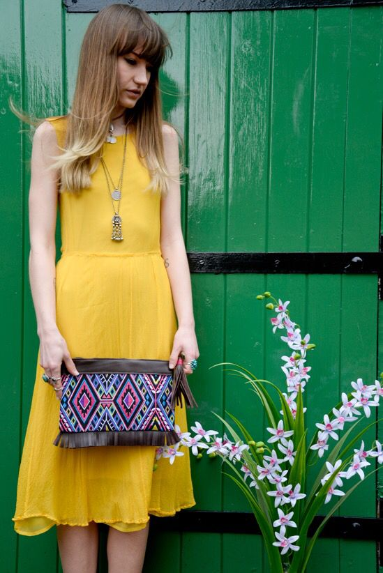 Embroidery leather fringe and tassel bag