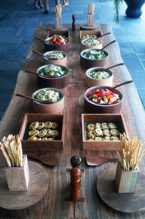 Summer Buffet of Grilled Lemon Chicken, Tomato-Watermelon Salad, Buttered Corn & Basil, Arugula Salad. Created by Peter Callahan
