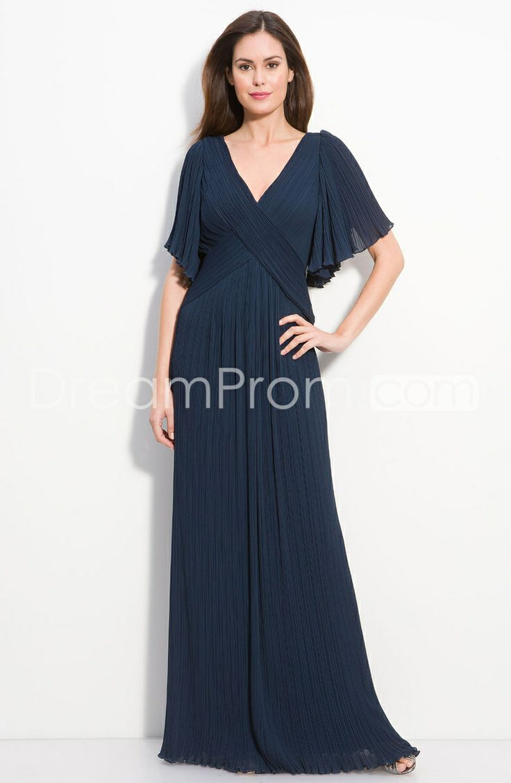 Modest Half Sleeves V-neck Floor-length Chiffon Mother Of The Bride Dress