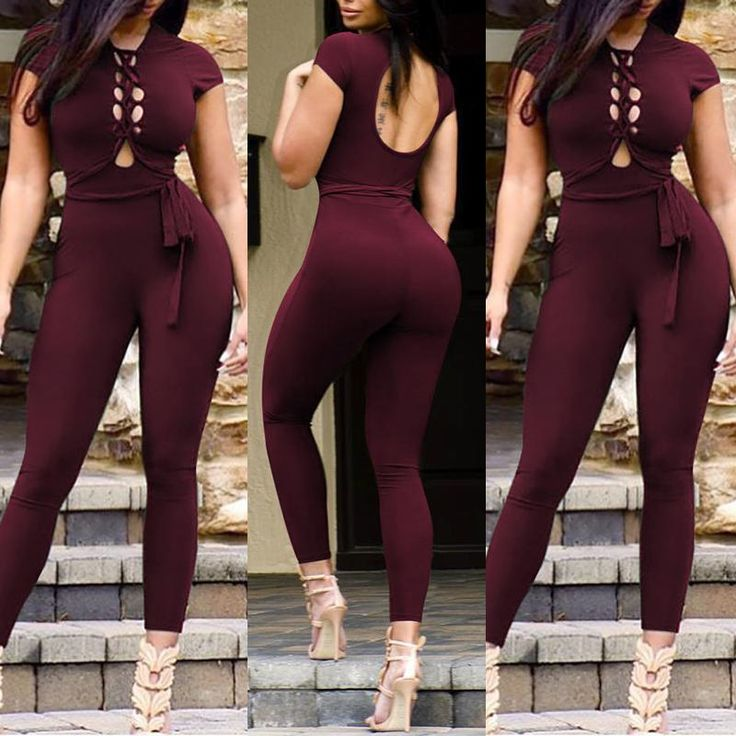 Trendy Hollow Belted Skinny Jumpsuit