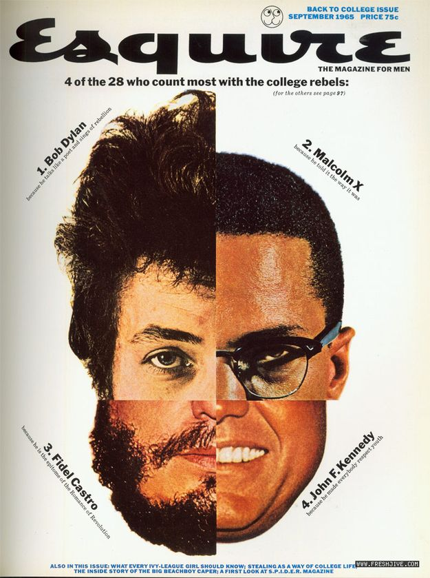 "Esquire Covers by George Lois - ""The Face of a Hero"" Lois created a composite image of the leading four heroes to American college students at the time: Bob Dylan, Malcolm X, John F. Kennedy, and Fidel Castro. Their faces were all joined together by the crosshairs of a rifle sight."