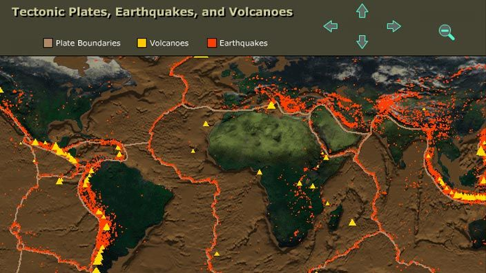According to theory of plate tectonics, Earth is an active planet — its surface is composed of many individual plates that move and interact, constantly changing and reshaping Earth's outer layer. Volcanoes and earthquakes both result from the movement of tectonic plates. In this interactive activity produced for Teachers' Domain with images from NASA, see the relationship between earthquakes and volcanoes and the boundaries of tectonic plates.
