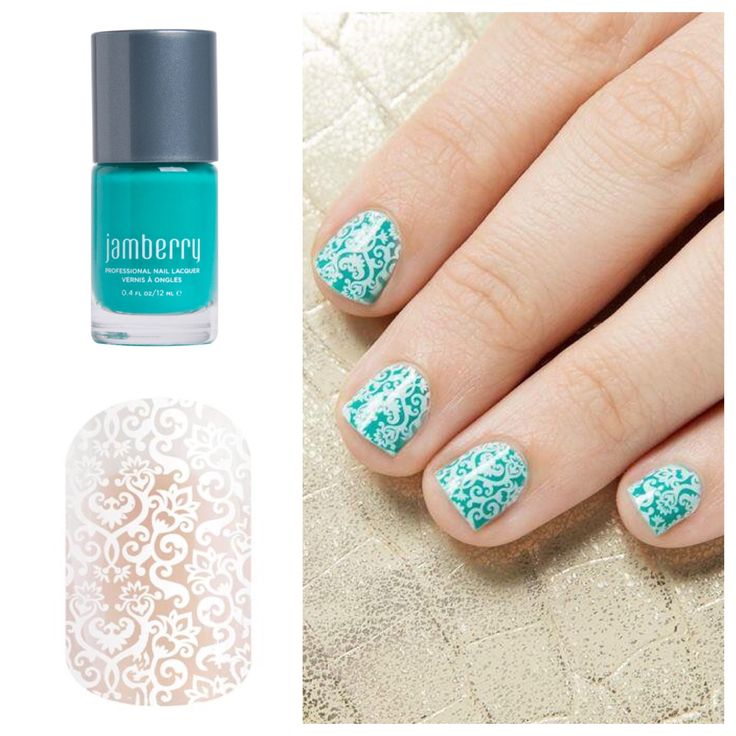 Jamberry Nails. 'White Romance' paired with 'Getaway' lacquer.  https://becgrinceri.jamberry.com/us/en