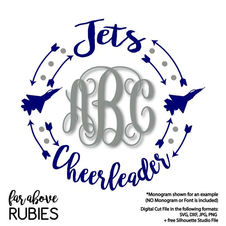 Jets Cheerleader Team Spirit Monogram Wreath Arrows (monogram NOT included) - SVG, DXF, png, jpg digital cut file for Silhouette or Cricut by faraboverubies on Etsy https://www.etsy.com/listing/496090133/jets-cheerleader-team-spirit-monogram