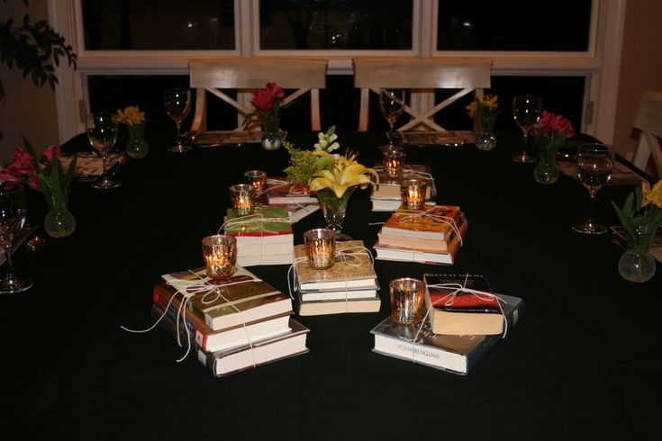 Book Club Dinner Party – Entertaining – Tablescapes | Karen Cromwell I love this, and also might use the stacked books to elevate plates for appetizers or desserts.