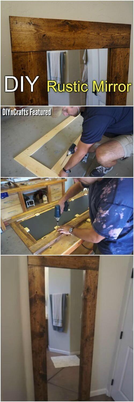 Easy DIY Rustic Mirror Transformation #BestHomeEnergyTips #Smartdiyrustic