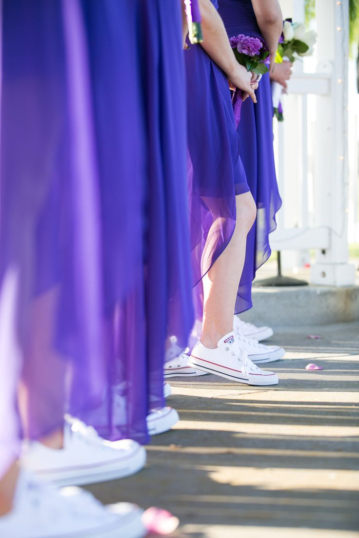 Bridesmaids style. Purple bridesmaids dresses with white Converse All Stars. Wedgewood San Ramon wedding. Photography by Kept In Time Photography.