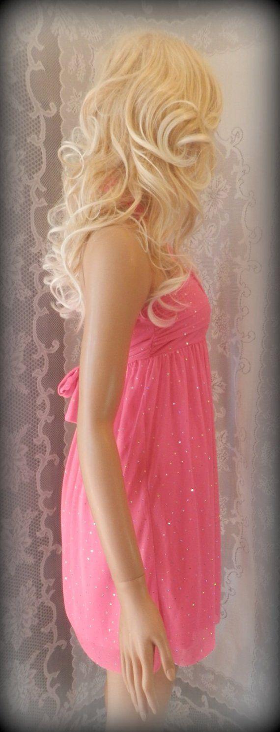 Girls pink dress, Halter dress, Formal dress, Pink summer dress, Hot pink dress, Cute dress, Fancy d