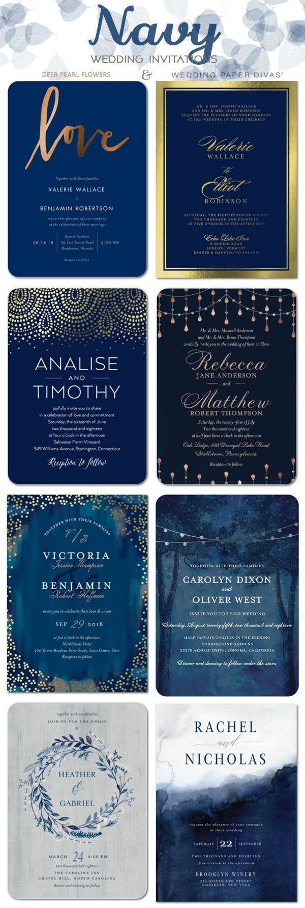 Navy blue wedding color ideas - navy blue wedding invitations / http://www.deerpearlflowers.com/wedding-paper-divas-wedding-invitations/2/