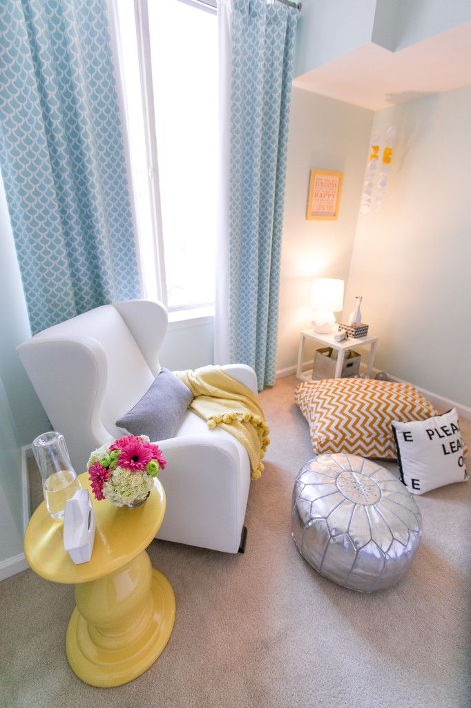 Modern Gender Neutral Nursery - so bright and airy! #nursery #modern #genderneutralWall Colors, Side Tables, Modern Gender, Projects Nurseries, Plays Room, Sitting Room, Yellow Accent, Gender Neutral Nurseries, Floors Poufs