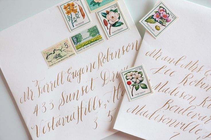 Wedding Envelopes by Beth Hunt Calligraphy | Oxford, Mississippi  #moderncalligraphy #calligraphy #brushlettering #lettering #brides #weddings #events #envelopes #oxford #mississippi #jackson #memphis
