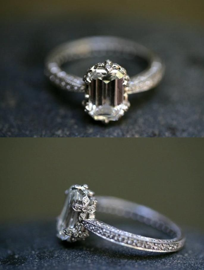 cathy waterman custom engagement ring with emerald cut diamond another one added on my fave rings