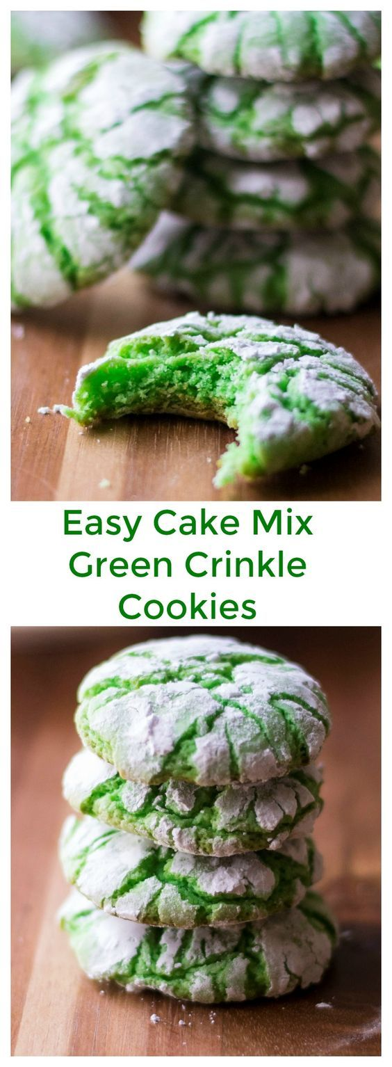 Green Crinkle Cookies are easy to make and fun to color. These soft baked green cookies made from store bought cake mix are fluffy and sweet and the perfect way to celebrate St. Patrick's Day, Easter or Christmas! #greencookies #greenfood #crinklecookies #christmascrinklecookies #christmascookies #stpatricksdaycookies #stpatricksdayfood #stpatricksdayfoodideas #eastercookies #cakemixcookies via @thepackmomma