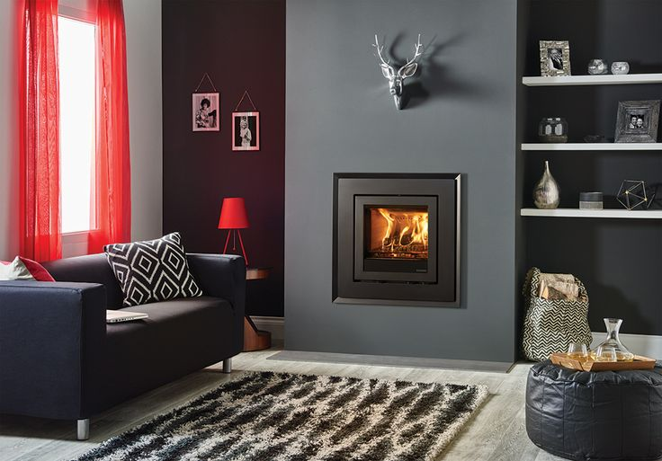 Adding a profiled surround, The Evoke Steel frame combines with the Elise wood burning and multi-fuel inset fire to instantly transform any interior. With