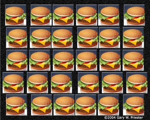 Now here's a stereotypical summer-themed Eye photo for you this week. What do you folks like to put on your burgers? I like to keep it simple with some ketchup & onions. Post your recipes below!  3D Stereograms - Brought to you by eyetricks.com. http://www.eyetricks.com/3dstereo64.htm