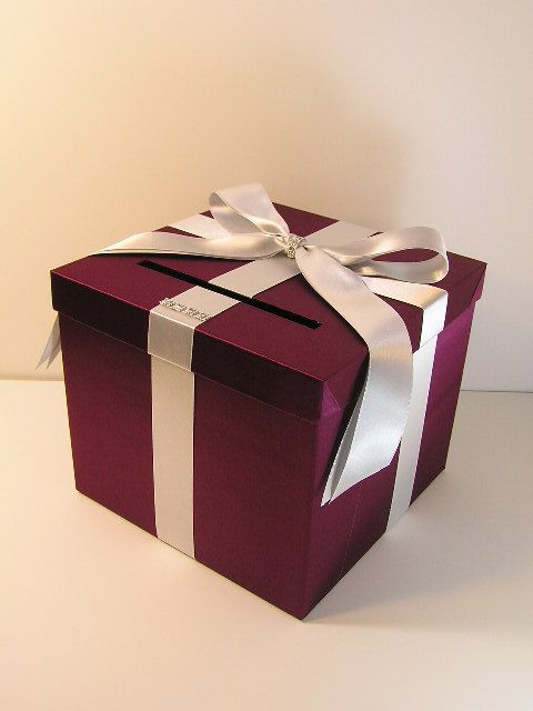 Burgundy and Silver Wedding Card Box Gift Card Box by bwithustudio
