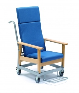 Solid beech wood structure and double back chair with wheels. Different fabrics.