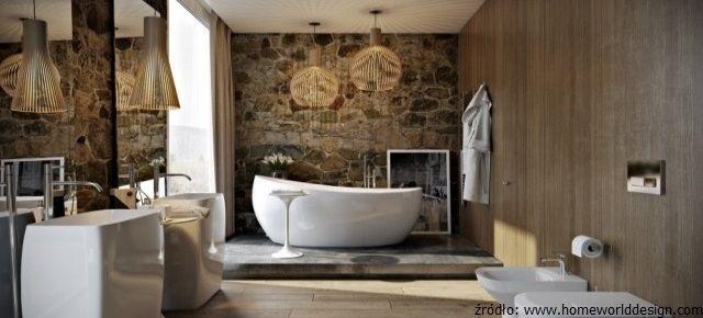 Łazienka w kamieniu i drewnie