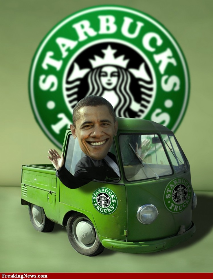 Barack Obama Driving a Starbucks Mini Truck pictures