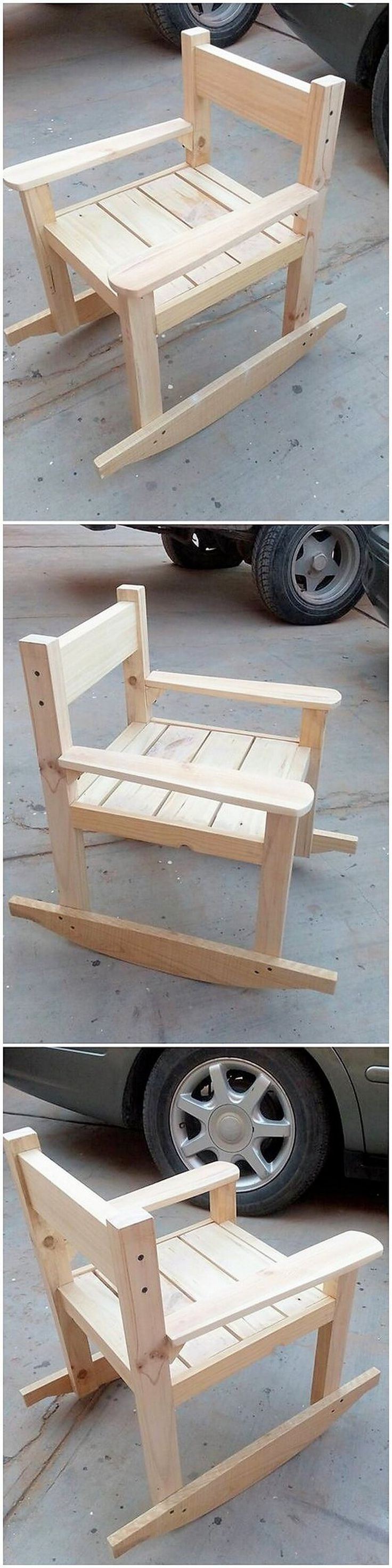 To arrange a comfortable area for their seating through this best idea of wood pallet rocking chair set. It do look stylish and has been carried out with much simple designing framework. As being small in size, you can make it place into any corner of your house.