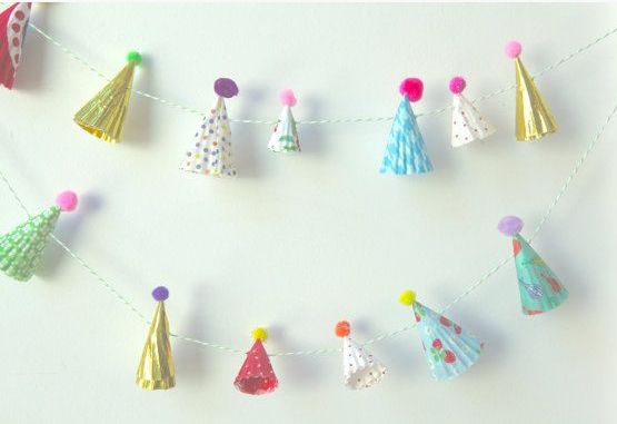 Playful party hat garland