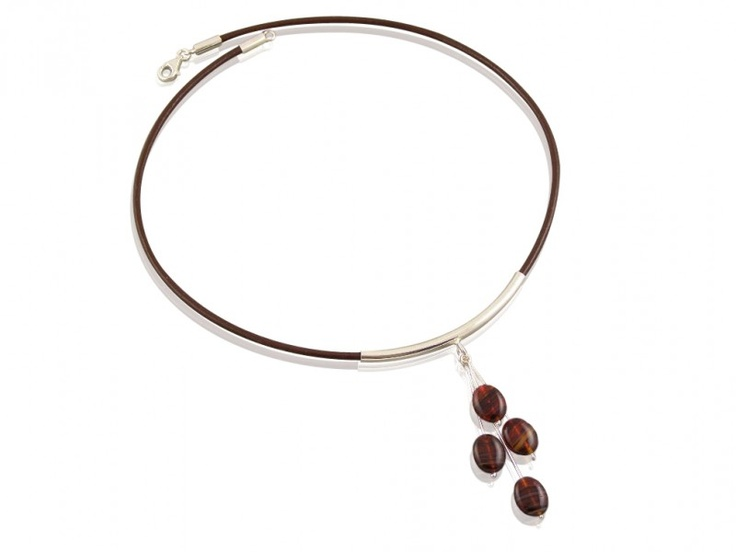 Necklace (leather strap with silver) with brown bead
