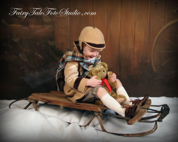 Vintage Style Christmas Portrait | Antique | Old Fashioned | Ole Timey | Boy on Sled with Teddy Bear | Christmas Portrait Poses | Photo Idea | Photography | Cute Baby Pic | Kid Pics | Posing Ideas | Kids | Children | Child | ~Bountiful Utah Photographer close to Salt Lake City | Ogden | Provo UT~