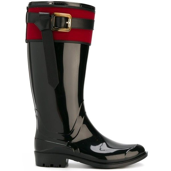 Burberry buckle detail rainboots ($404) ❤ liked on Polyvore featuring shoes, boots, black, black leather boots, black shoes, wellington boots, real leather boots and burberry boots