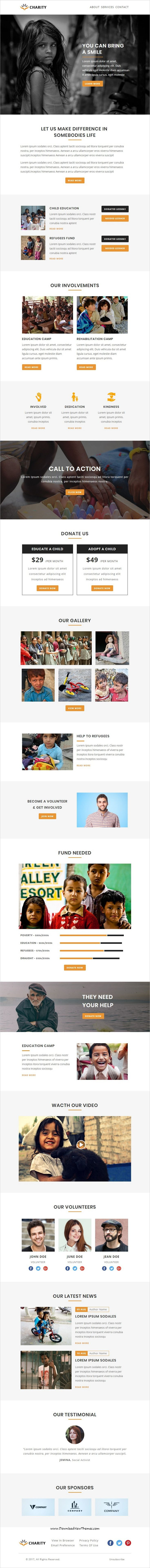 Charity is clean and modern design responsive #email #newsletter template for #charity and nonprofit organization #marketing with stampready builder access to live preview & download click on Visit 👆