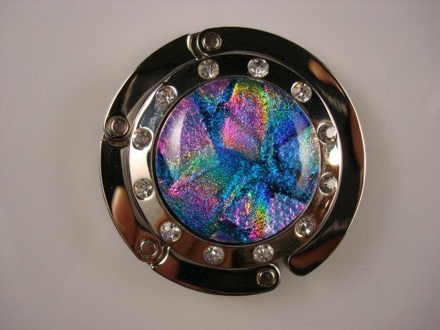 Dichroic Glass Folding Purse Hook.