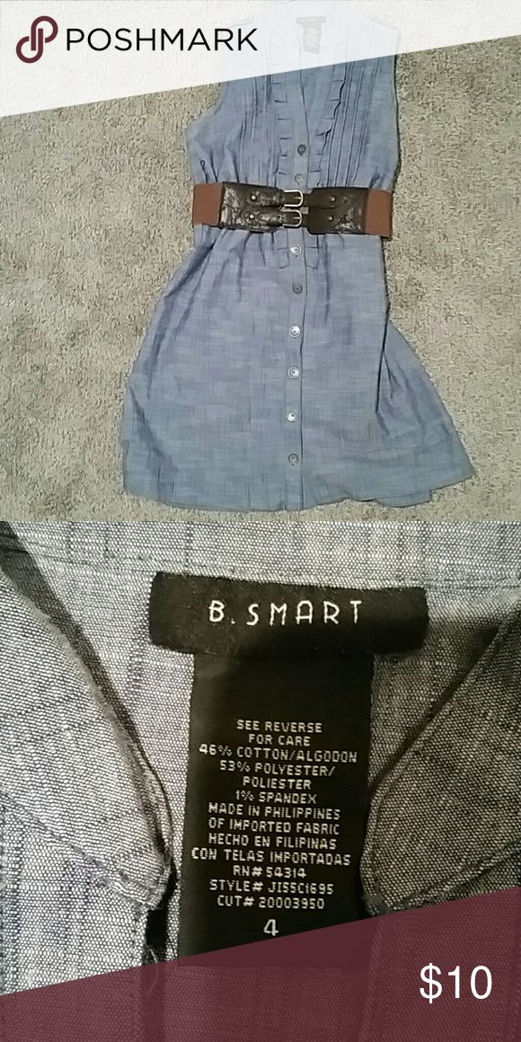 Blue Faux Denim Dress (belt NOT included) Faux denim dress, size 4.  Very cute with a brown belt, but the belt is not included. b. smart Dresses Mini